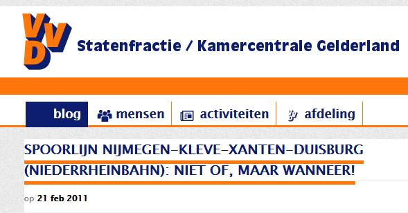 VVD: Spoorlijn Nijmegen-Kleve-Xanten-Duisburg (Niederrheinbahn): niet of, maar wanneer!
