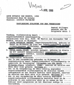 Oprichtingsakte VIEV 1996